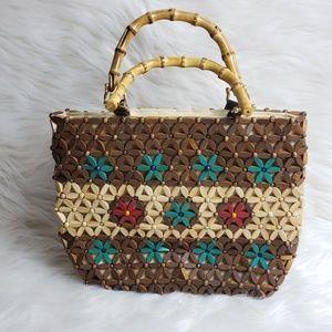 Handbags - Beaded handbag with bamboo handled